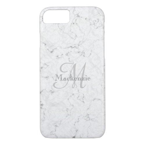 Custom Name Monogram Elegant Marble White Gray Phone Case