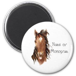 Custom Name Monogram Horse with Attitude 2 Inch Round Magnet