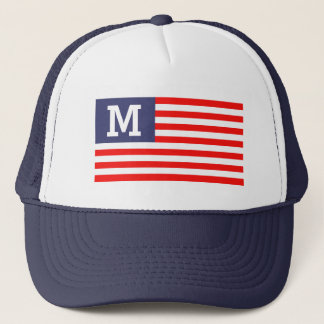 Custom name monogram patriotic American flag Trucker Hat