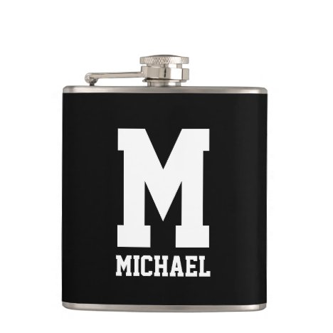 Custom name monogram small black and white flask