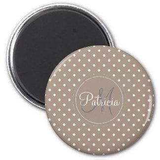 Custom Name Monogram.Straw Brown, White Polka Dots 2 Inch Round Magnet