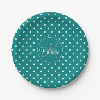 Custom Name Monogram.Teal Green & White Polka Dots Paper Plate