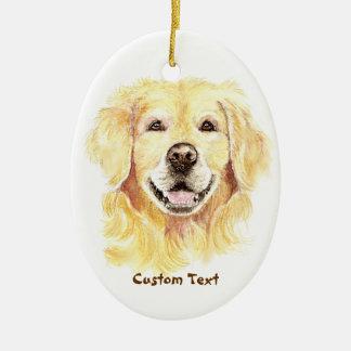 Custom Name, Monogram Text Golden Retriever Dog Ceramic Ornament
