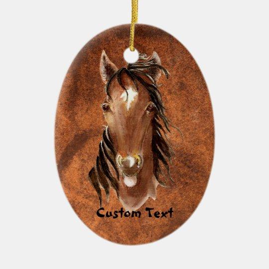 Custom Name, Monogram, Text Watercolor Horse Ceramic Ornament