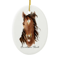 Custom Name, Monogram, Text Watercolor Horse Ceramic Ornament
