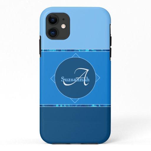 Custom Name Monogram Three Blue Ombre Stripes iPhone 11 Case