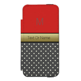 Custom Name Monogram. Tomato Red & Polka Dots Wallet Case For iPhone SE/5/5s