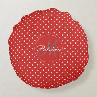 Custom Name Monogram. Tomato Red& White Polka Dots Round Pillow