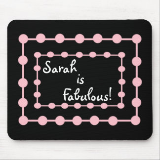 CUSTOM NAME Mousepad with Pink Puff Balls