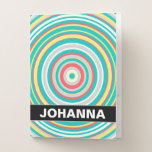 [ Thumbnail: Custom Name + Multi-Colored Ring/Circle Pattern Pocket Folder ]