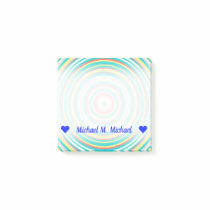 Custom Name; Multi-Colored Ring/Circle Pattern Post-it Notes