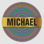 [ Thumbnail: Custom Name + Multicolored Circles/Rings Pattern Round Sticker ]