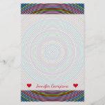 [ Thumbnail: Custom Name + Multicolored Circles/Rings Pattern Stationery ]