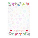 [ Thumbnail: Custom Name + Multicolored Triangles Pattern Stationery ]