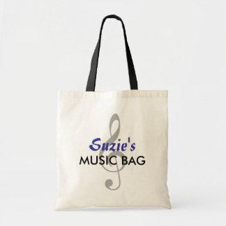 Custom Name Music Bag - Blue