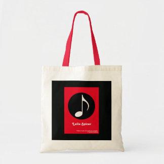 custom name music note tote bag