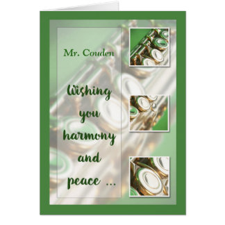 Custom Name, Music Teacher, Christmas, Flute, Band Card