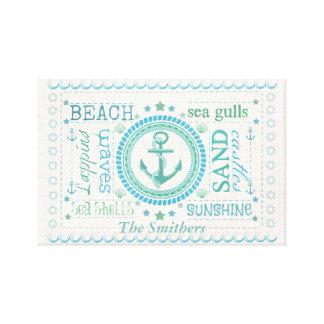 Custom Name Nautical Beach Stretched Canvas Print