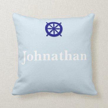 Beach Themed Custom Name Nautical Grey Throw Pillow
