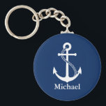 "Custom Name Nautical Navy Blue with White Anchor Keychain<br><div class=""desc"">Custom name simple and minimalist modern nautical design with white anchor on navy blue background. Perfect personalized gift for every occasion. Click on the customize it button to personalize the design by choosing the background color you like and even add your own text. Matching items are also available in store....</div>"