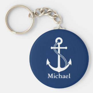 Custom Name Nautical Navy Blue with White Anchor Keychain