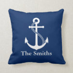 "Custom Name Nautical Navy Blue with White Anchor Throw Pillow<br><div class=""desc"">Custom name simple and minimalist modern nautical design with white anchor on navy blue background. Perfect personalized gift for every occasion. Click on the customize it button to personalize the design by choosing the background color you like and even add your own text. Matching items are also available in store....</div>"