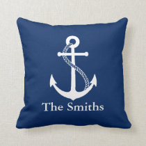 Custom Name Nautical Navy Blue with White Anchor Throw Pillow