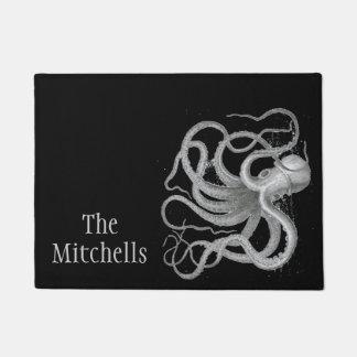 Custom name nautical octopus vintage kraken beach doormat