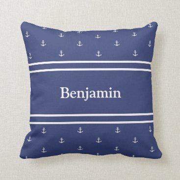 Beach Themed Custom Name Nautical White and Blue Throw Pillow