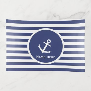 Beach Themed Custom Name Nautical White and Blue Trinket Trays