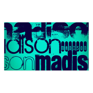 Custom Name; Navy Blue and  Neon Aqua Turquoise Double-Sided Standard Business Cards (Pack Of 100)