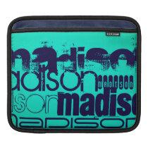 Custom Name; Navy Blue and  Neon Aqua Turquoise iPad Sleeve