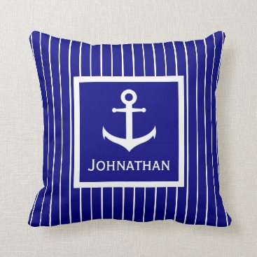 Beach Themed Custom Name Navy Blue and White Anchor Pillow