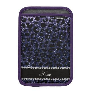 Custom name navy blue glitter cheetah print iPad mini sleeves