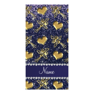 Custom name navy blue glitter gold roses hearts photo card