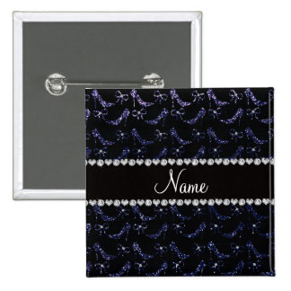 Custom name navy blue glitter high heels bow pinback button