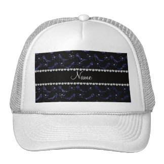 Custom name navy blue glitter high heels bow trucker hats