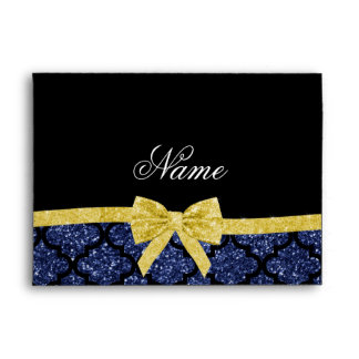 Custom name navy blue glitter moroccan blue gold envelopes