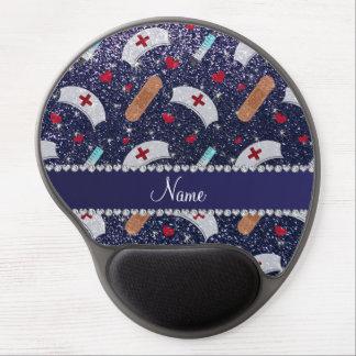 Custom name navy blue glitter nurse hats heart gel mouse pad