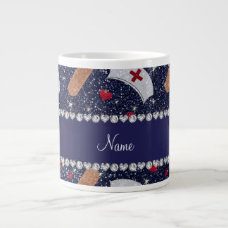 Custom name navy blue glitter nurse hats heart giant coffee mug