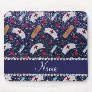 Custom name navy blue glitter nurse hats heart mouse pad