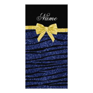 Custom name navy blue glitter zebra stripes bow picture card