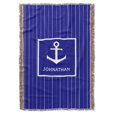 Beach Themed Custom Name Navy Blue Nautical Throw Blanket