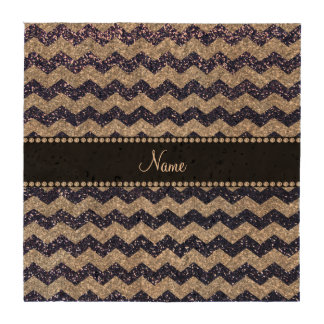 Custom name navy blue silver glitter chevrons beverage coasters