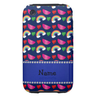 Custom name navy blue watermelons rainbows hearts tough iPhone 3 covers