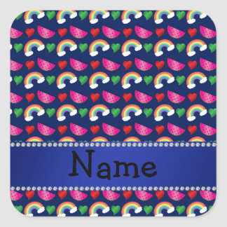 Custom name navy blue watermelons rainbows hearts sticker