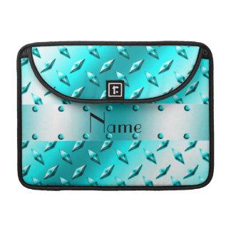Custom name neon blue diamond plate steel sleeves for MacBooks