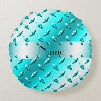 Custom name neon blue diamond plate steel round pillow