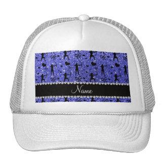 Custom name neon blue glitter archery trucker hat