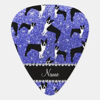 Custom name neon blue glitter boston terrier guitar pick